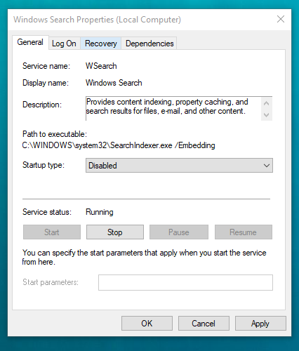 Turn off search indexing in Windows 7