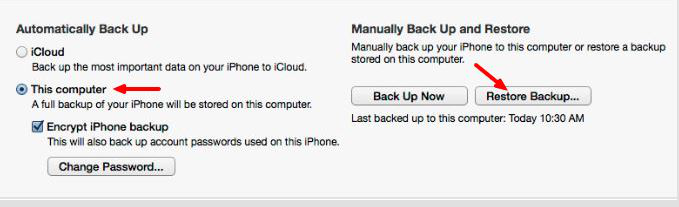 Restore Backup using iTunes