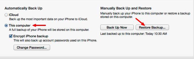 Restore Backup using iTunes