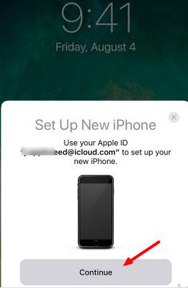 Quick Start screen on old iPhone