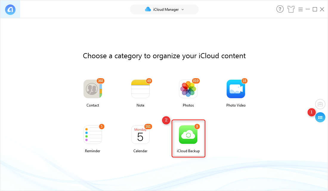How to Extract Contacts from iCloud Backup - Step 2