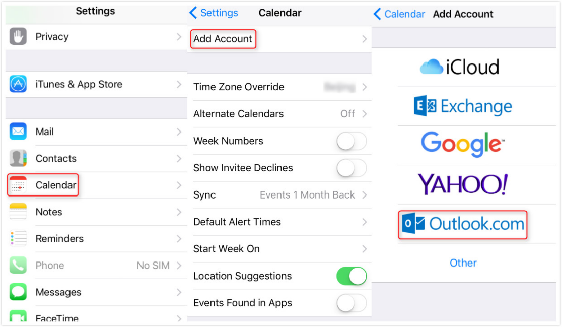 Sync Outlook Calendar with iCloud on iPhone - Step 1