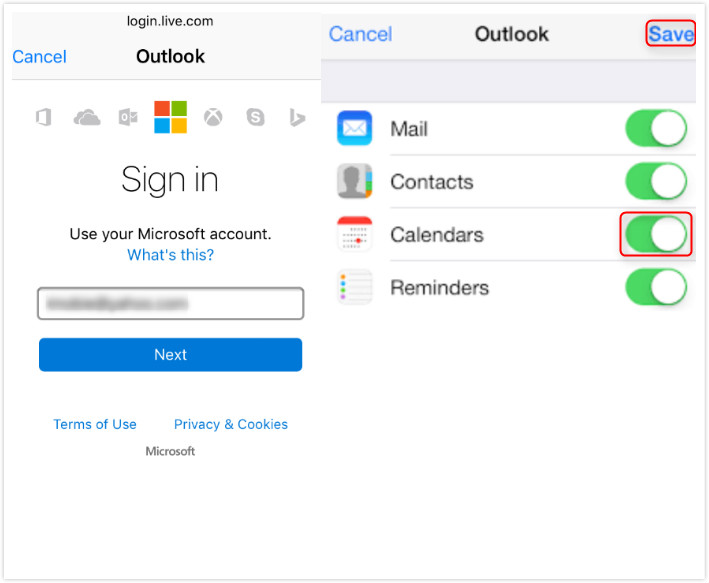 Sync Outlook Calendar with iCloud on iPhone - Step 2