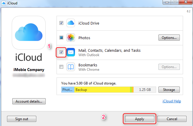 Sync Outlook Contacts to iCloud with iCloud Control Panel