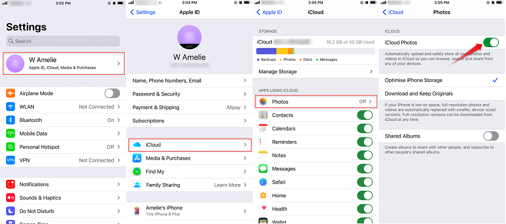 Transfer Photos from iPhone to iPhone Using iCloud