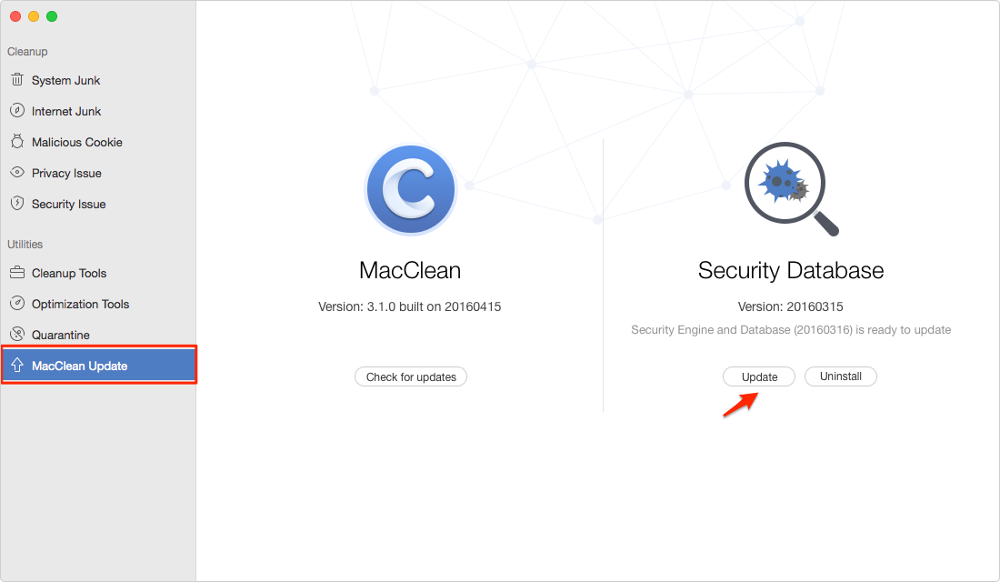 Update Security Database of MacClean