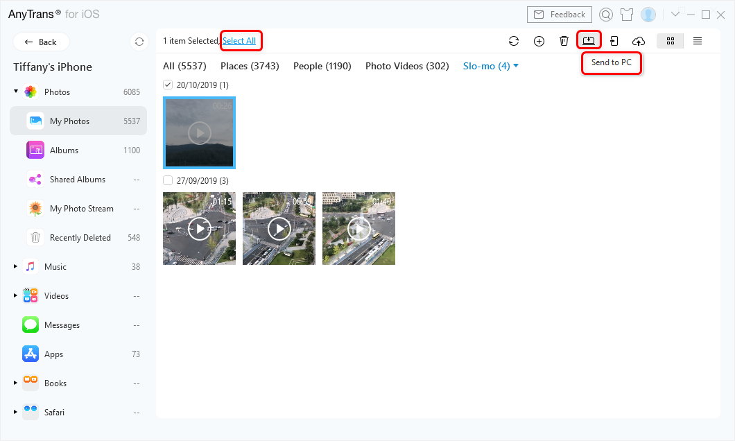Start Transferring Photos in AnyTrans for iOS – Step 3