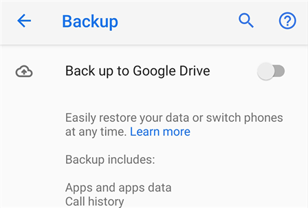 Create an Android cloud backup