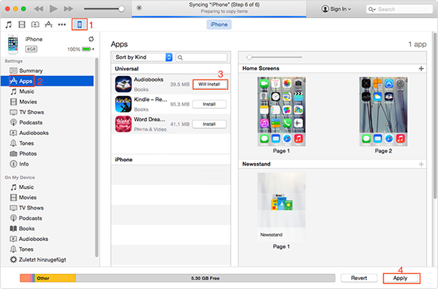 Transfer apps from iTunes to iPhone