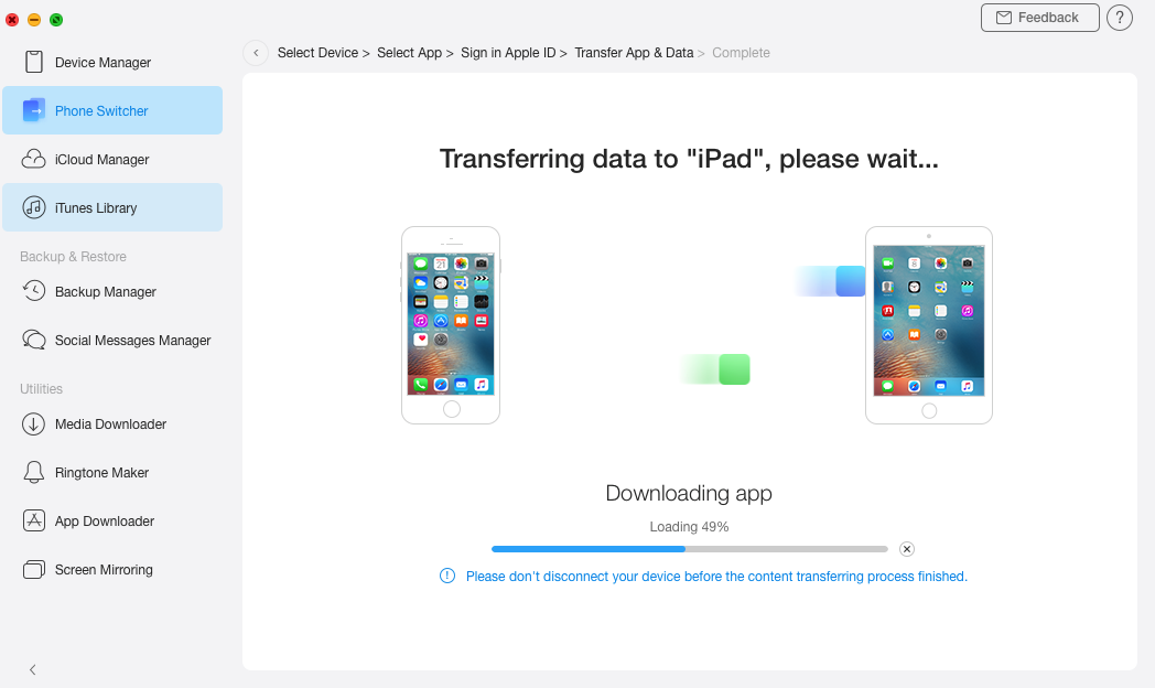Transferring apps to iPhone