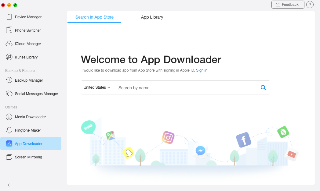 Open the App Downloader section