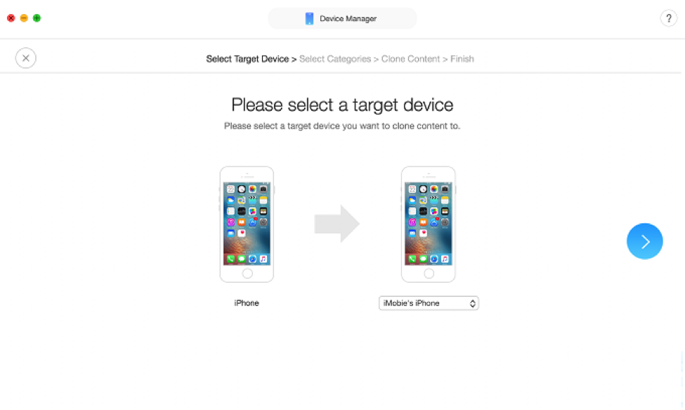 Select your new iPhone to transfer your backup to