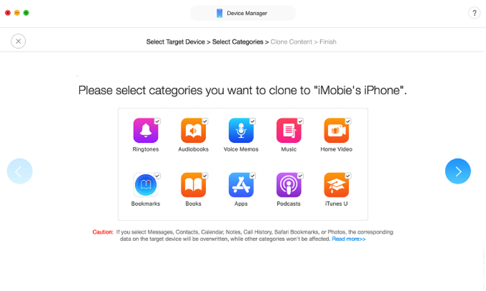 Select the file types to transfer to your new iPhone