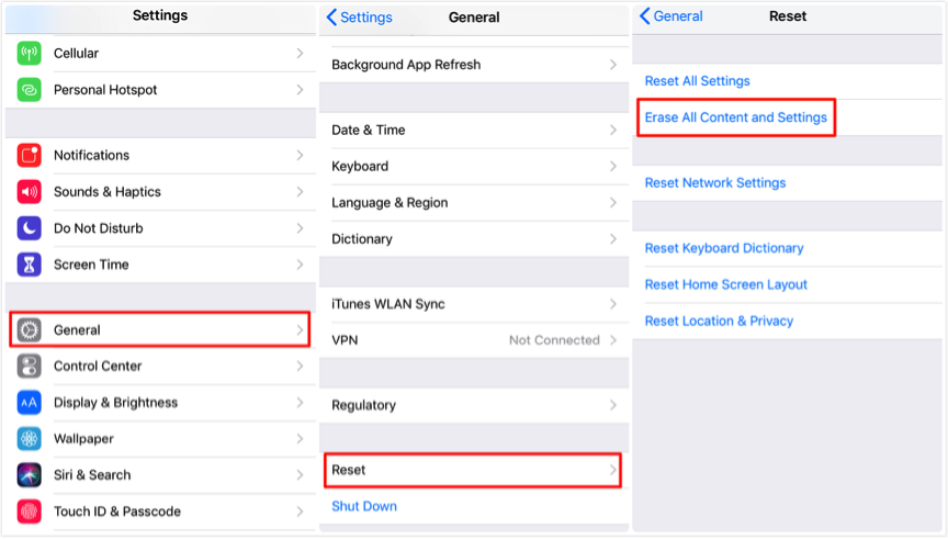 Transfer iPhone Backup to New iPhone - Erase iPhone