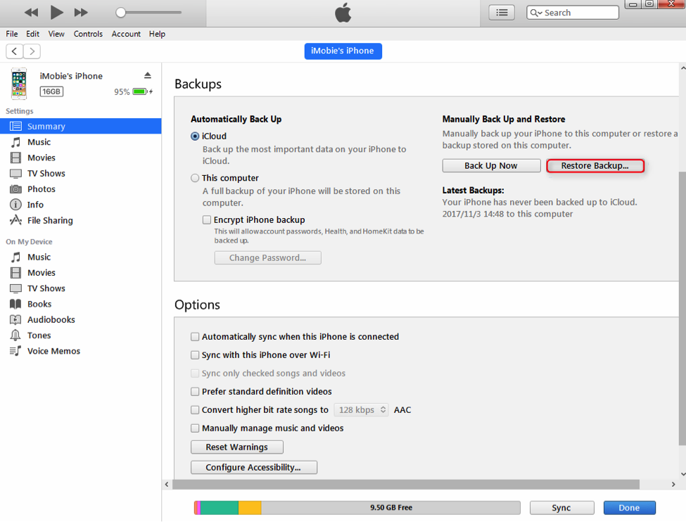 Choose Restore Backup in iTunes