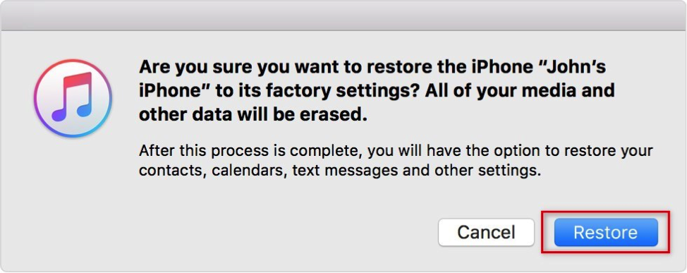 Click on Restore Button to Confirm