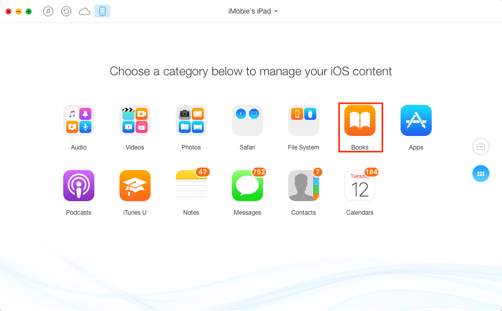 How to Transfer Books from iPad to iPad – Step 2