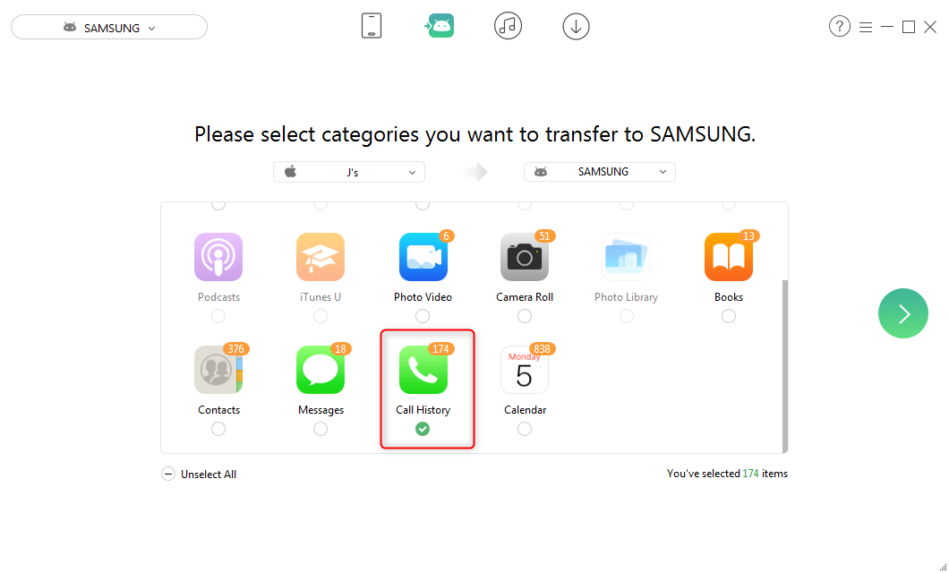 How to Transfer Call Logs from iPhone to Android – Step 2