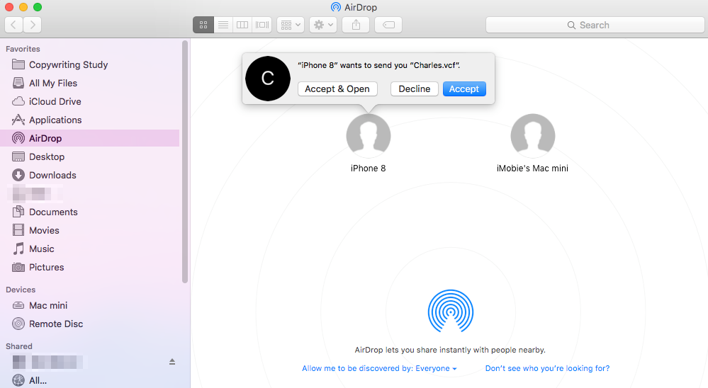 Import Contacts from iPhone X/iPhone 8 (Plus) to Mac with AirDrop