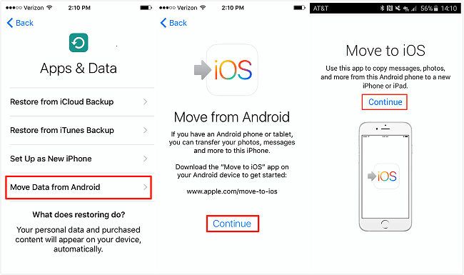 TransferContacts from Android to iPhone with Move to iOS