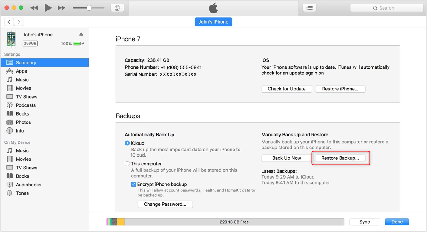 How to Transfer Content to new iPhone via Restoring iPhone from iTunes Backup-Step 3