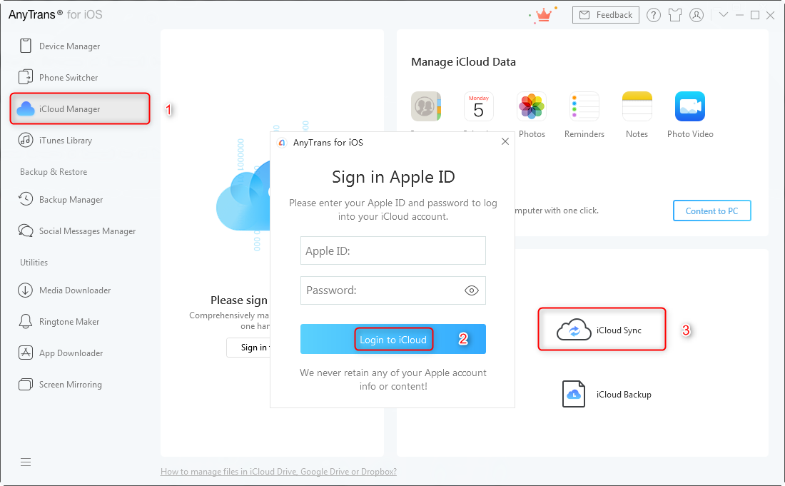 Log in your iCloud ID
