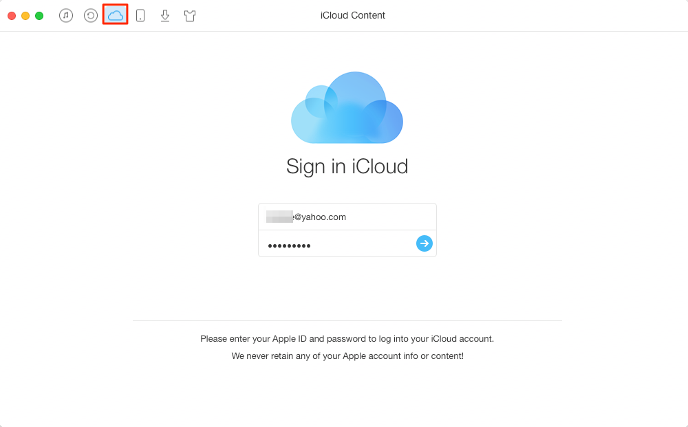 How to Transfer Data from iCloud to iCloud – Step 1