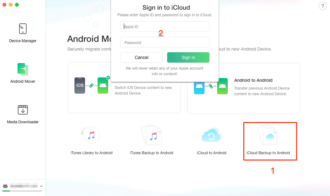 Choose iCloud Transfer Mode