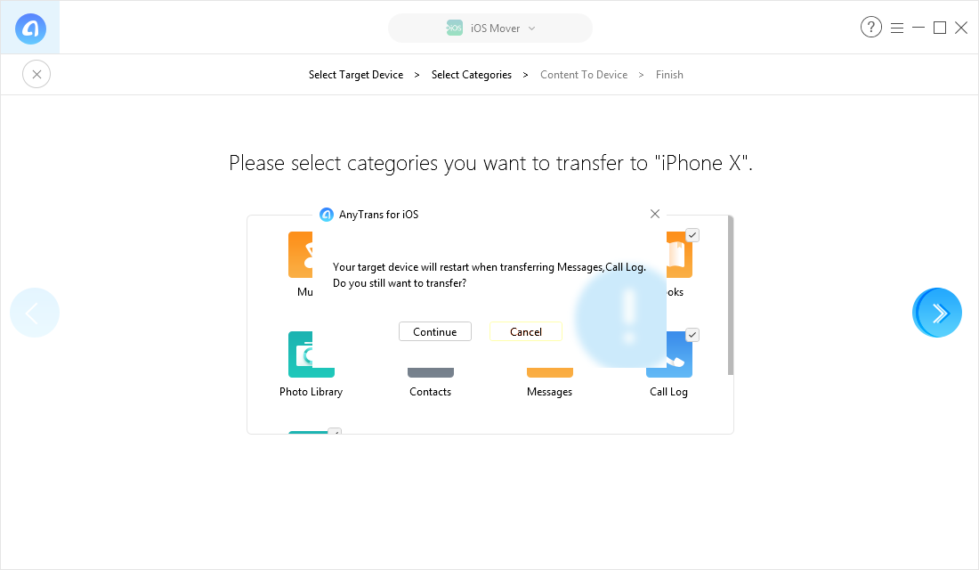 Transfer Everything from Android to iPhone X/XS (Max)/XR with AnyTrans for iOS - Step 4