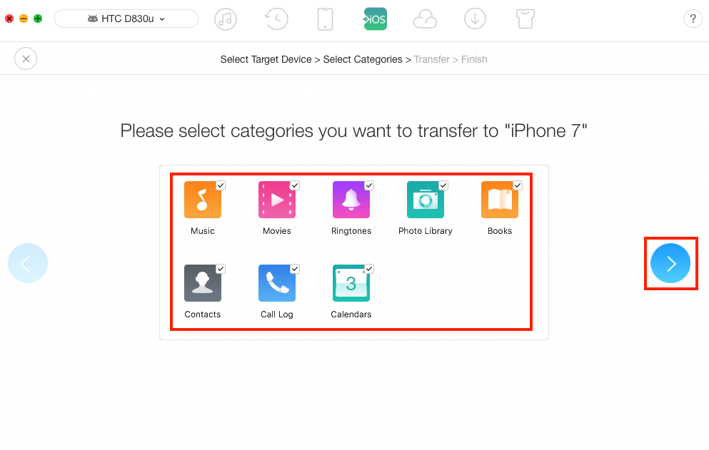 Transfer Files from HTC to iPhone – Step 3