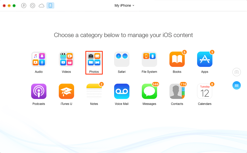 How to Transfer Specific Files from iPhone/iPad to Flash Drive – Step 1