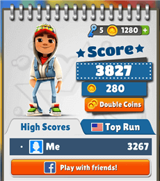 Subway Surfers with Facebook to transfer data to iPhone