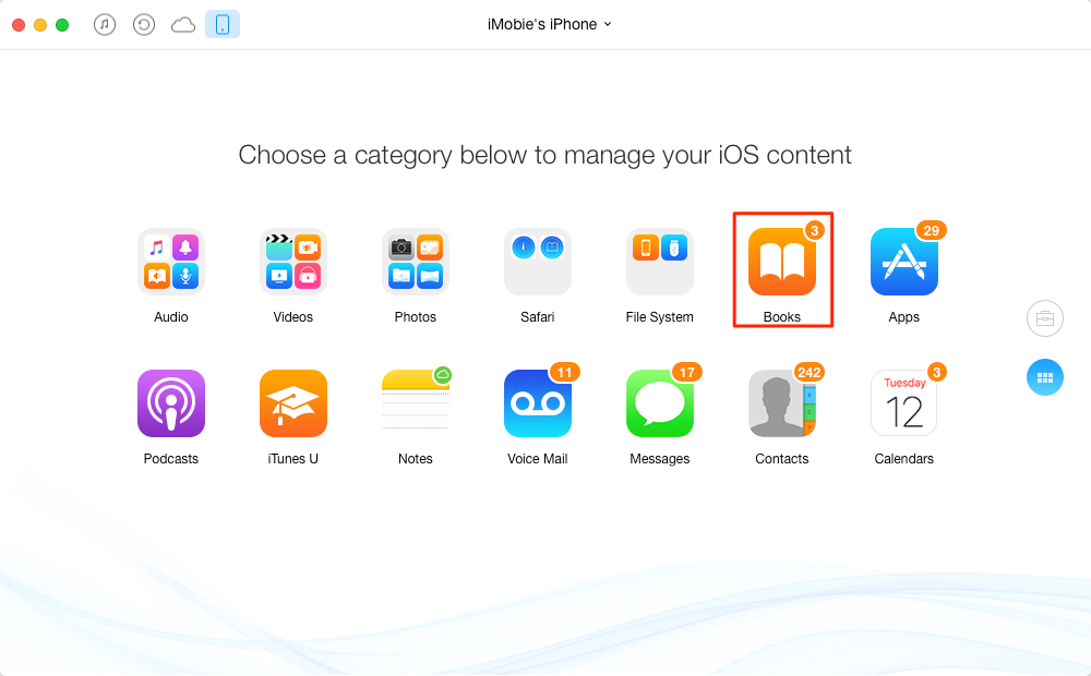 Transfer iBooks from iPhone to Mac via AnyTrans – Step 2