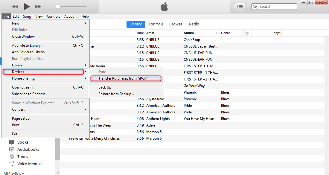 Sync Music From iPod to iPhone via iTunes - Step 1