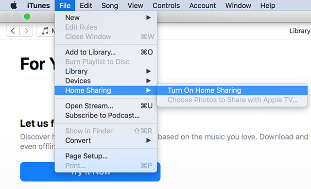 Enable Home Sharing in iTunes
