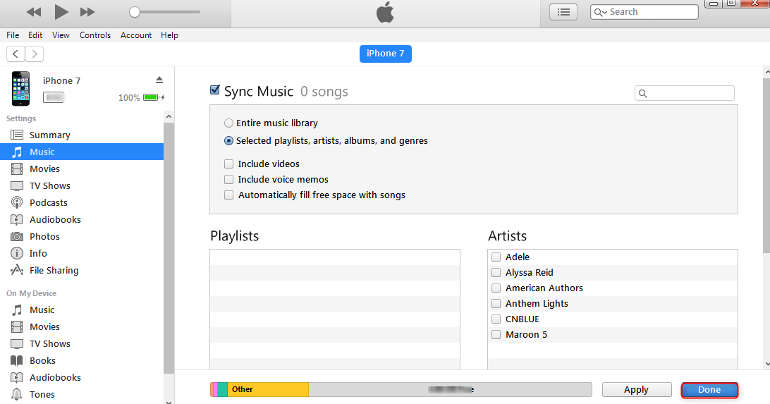 How to Sync Music from Computer to iPhone 7 with iTunes - Step 3