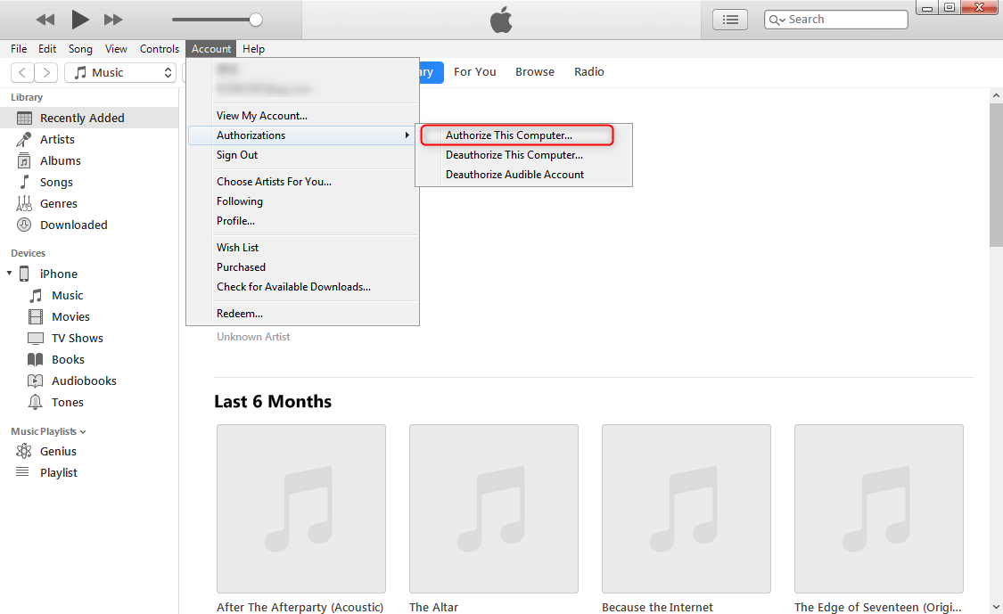 How to Transfer Music from iPhone X/XS/XS Max/XR to iTunes via iTunes - Step 2