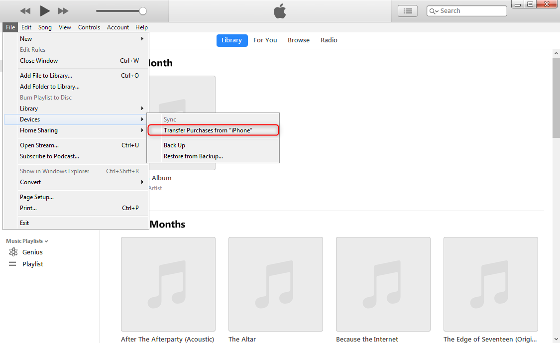 How to Transfer Music from iPhone X/XS/XS Max/XR to iTunes via iTunes - Step 4