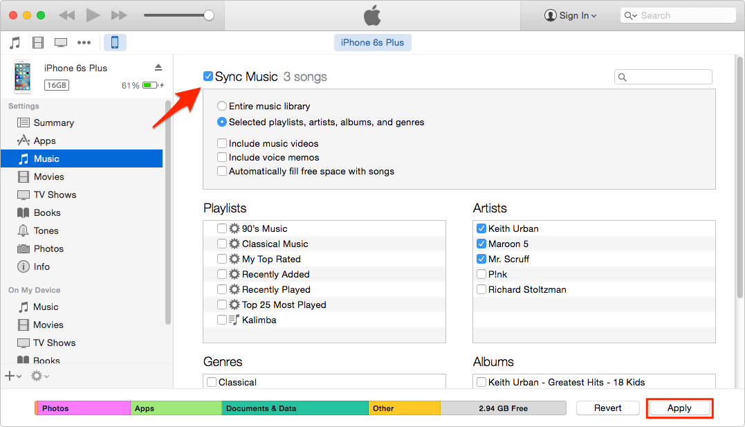 Transfer Music from Laptop to iPhone with iTunes