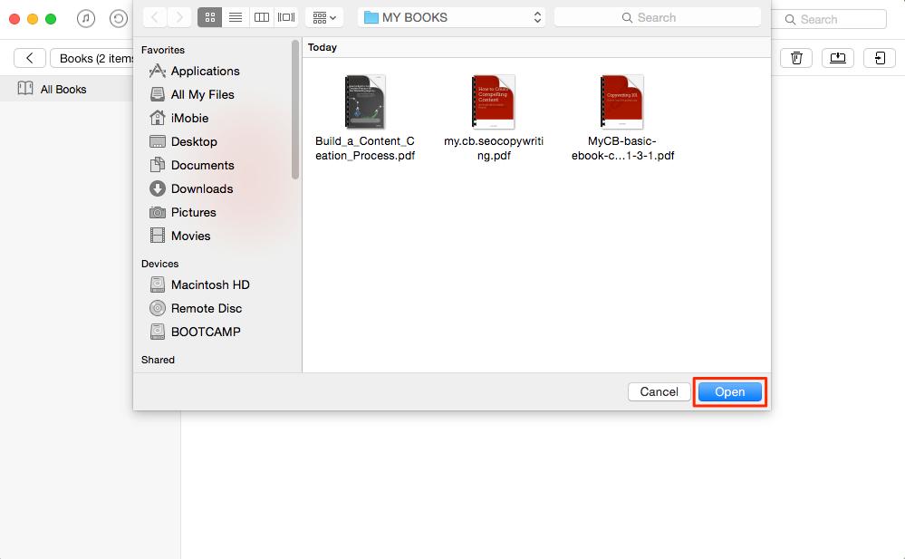 Transfer PDF to iBooks – Step 2