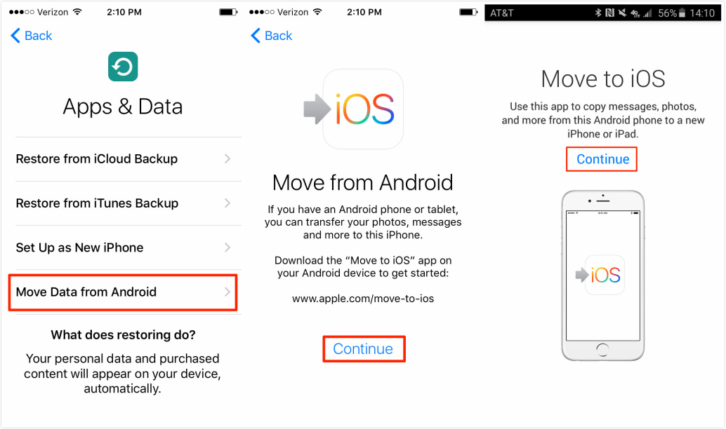 Transfer Photos from Android to iPhone X/XS (Max)/XR with Move to iOS - Step 2