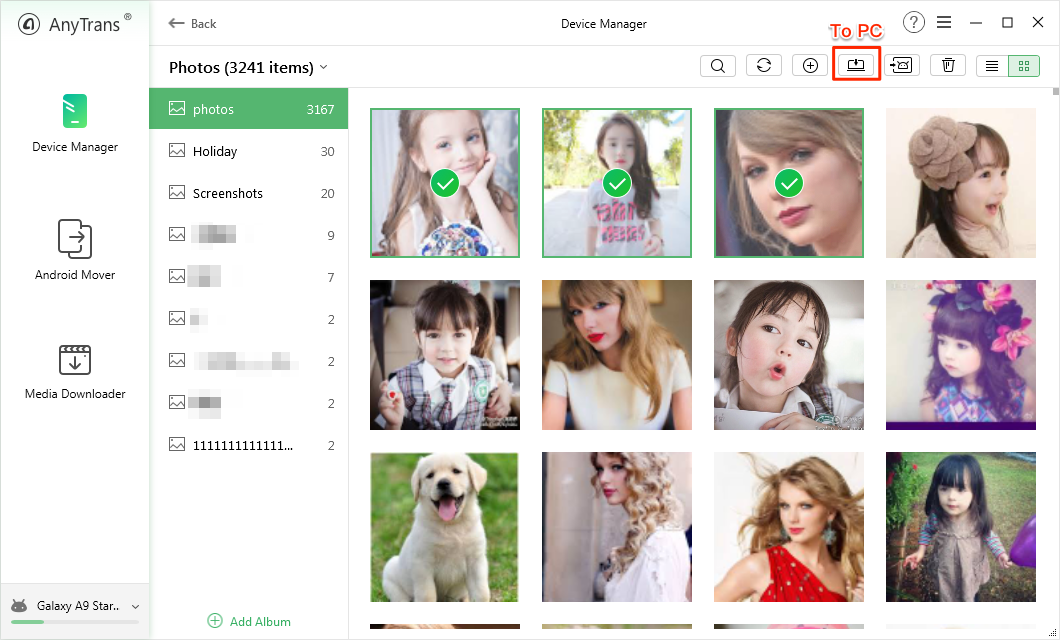 Select and transfer photos from internal memory to SD card