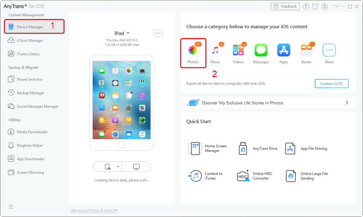 How to Transfer Photos from iPad to iPad with AnyTrans – Step 1