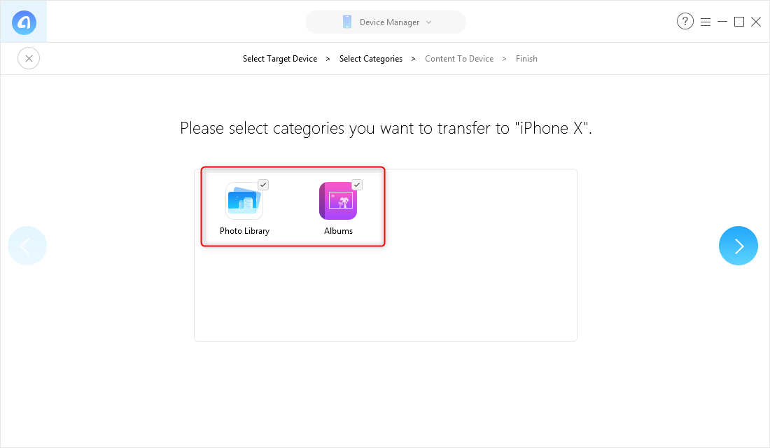 Transfer Photos from iPhone to iPhone X/XS (Max)/XR in One-Click - Step 3