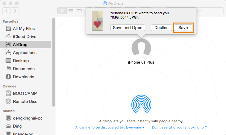 Transfer Photos from iPhone to Mac via AirDrop