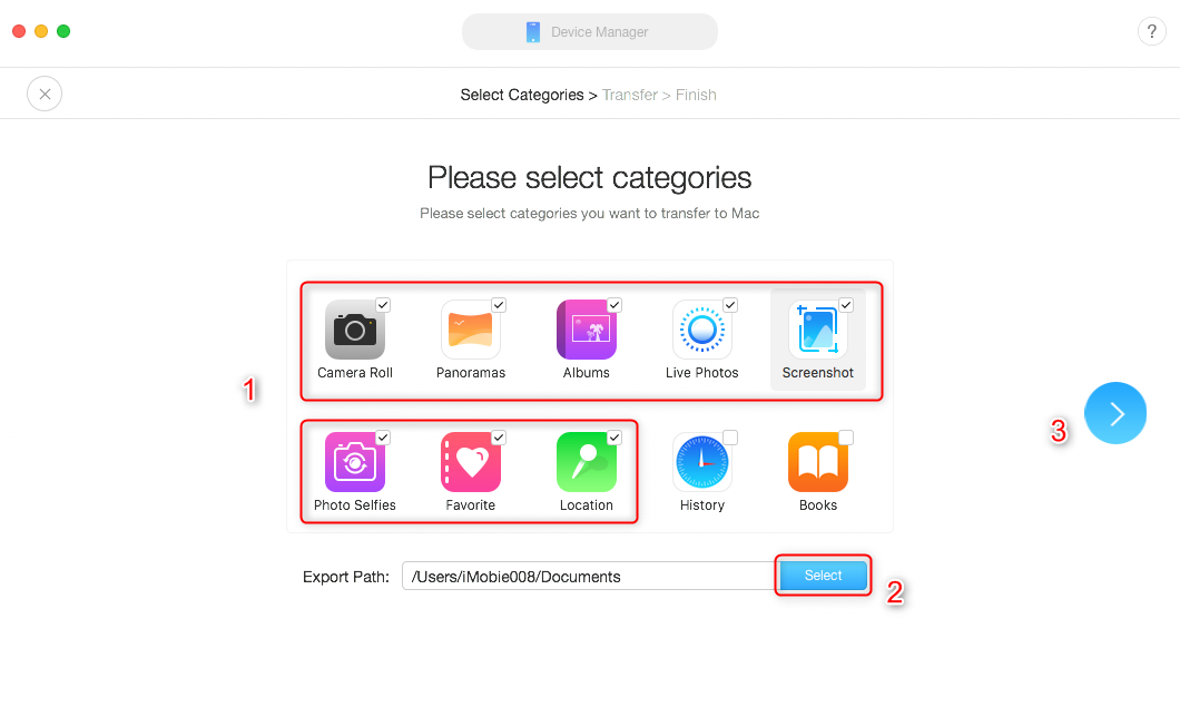 Export All Photos from iPhone to Mac with AnyTrans for iOS – Step 2
