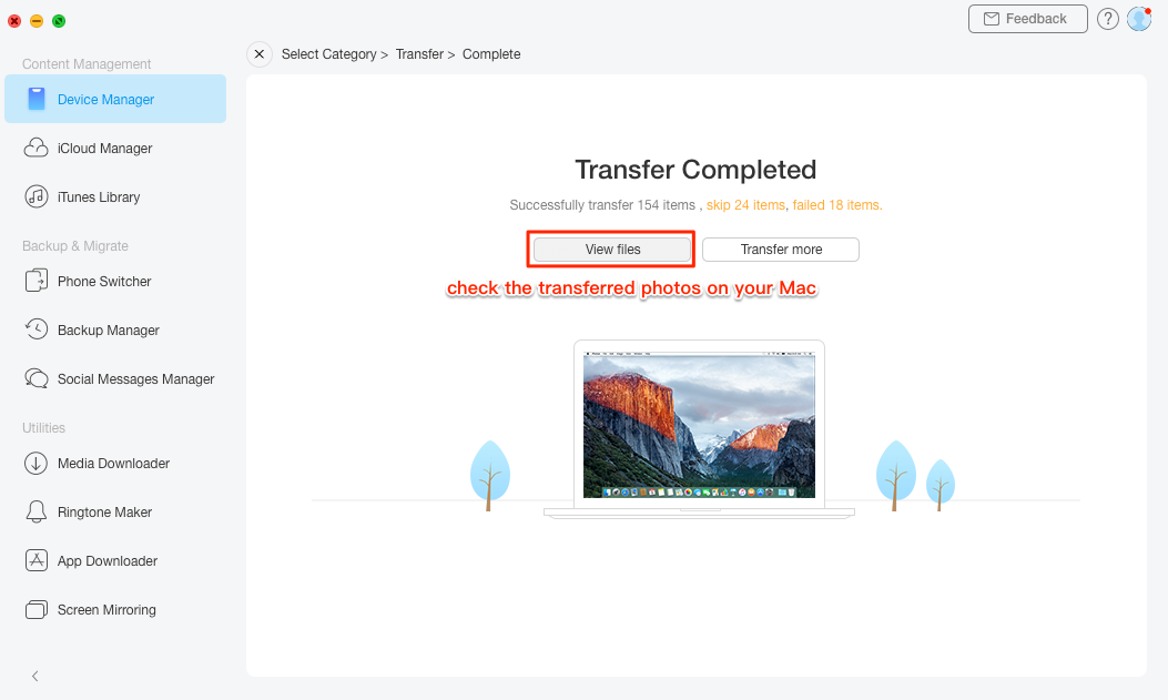 How to Import All Photos from iPhone to Mac with AnyTrans – Step 3