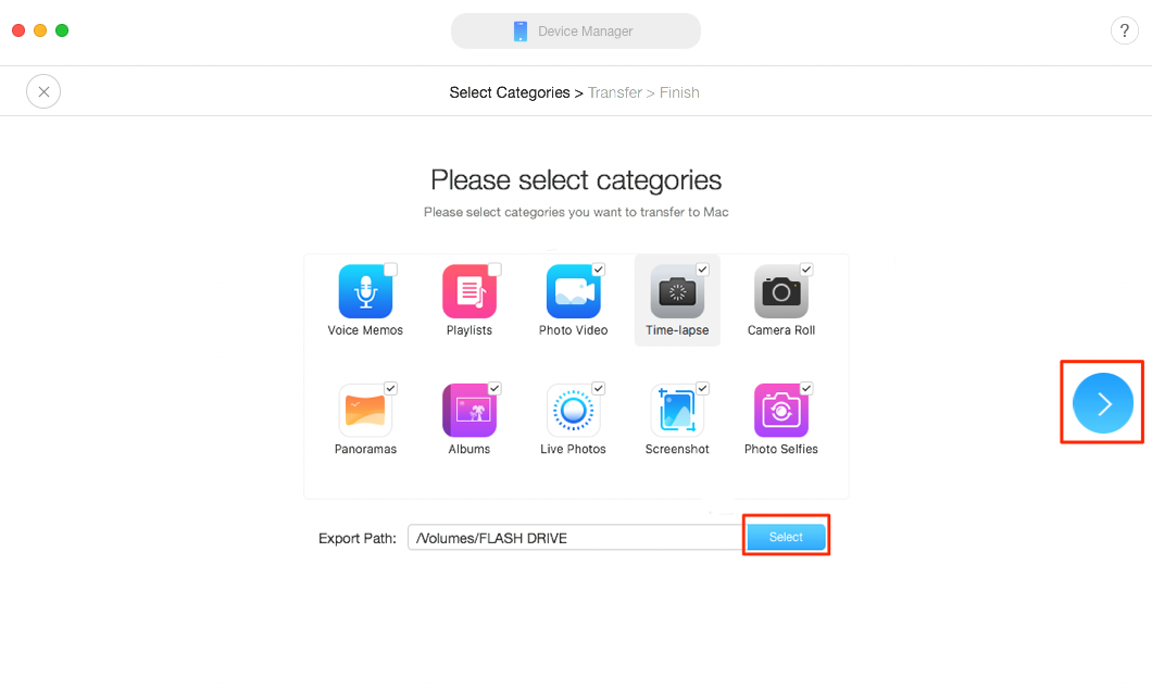 How to Transfer Pictures from iPhone X/XS/XS Max/XR to Flash Drive with AnyTrans – Step 3