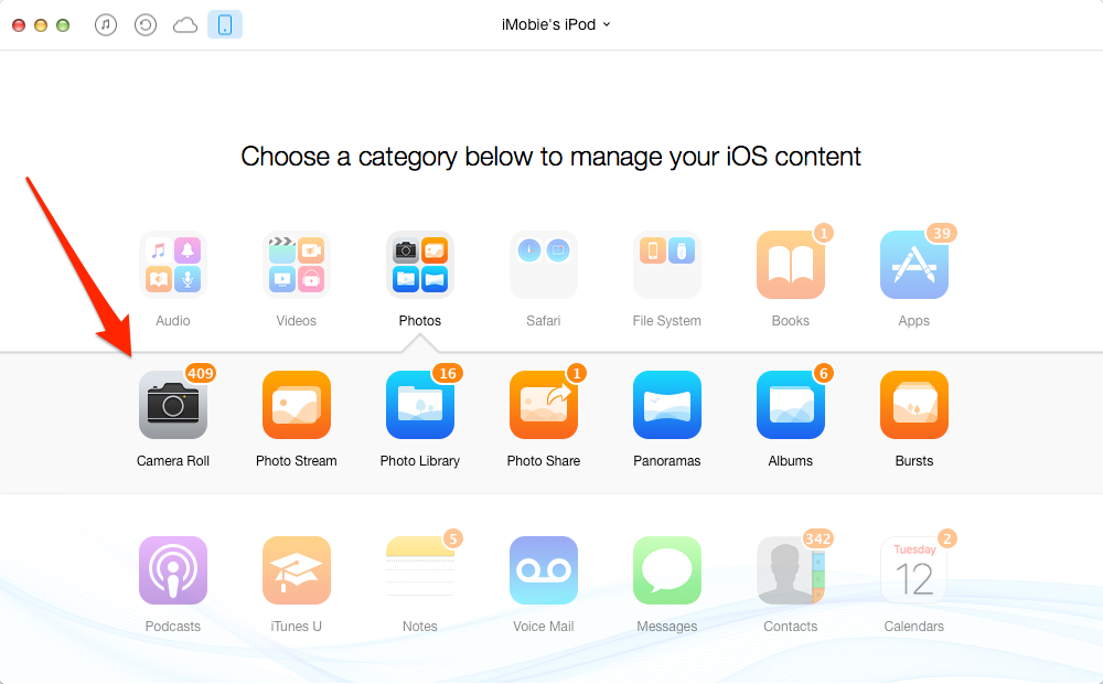 How to Transfer Photos from iPod to iPhone 6/6s – Step 2