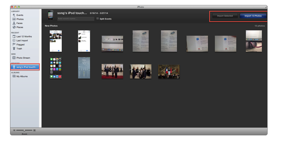 Import Photos from iPod touch to Mac with iPhoto